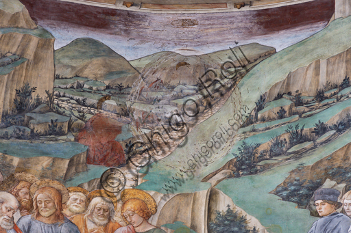 """Spoleto, the Duomo (Cathedral of S. Maria Assunta), presbytery, tholobate: """" Transit of Mary"""", fresco by Filippo Lippi, helped by Fra' Diamante and Pier Matteo d'Amelia, 1468-9.  The three artists and Filippino (Filippo Lippi's son) are portrayed at the right. Detail with ladscape."""