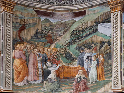 """Spoleto, the Duomo (Cathedral of S. Maria Assunta), presbytery, tholobate: """" Transit of Mary"""", fresco by Filippo Lippi, helped by Fra' Diamante and Pier Matteo d'Amelia, 1468-9.  The three artists and Filippino (Filippo Lippi's son) are portrayed at the right."""