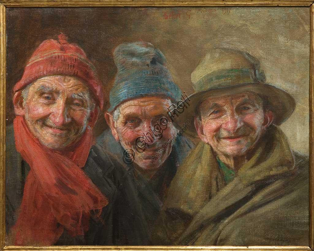 """Collezione Assicoop - Unipol: """"I tre amici"""", 1917, olio su tela, di Gaetano Bellei (1857 - 1922)."""