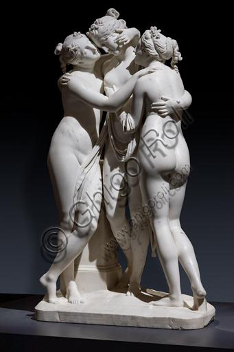 """""""Le tre Grazie"""", 1812-17, di Antonio Canova (1757 - 1822), marmo."""
