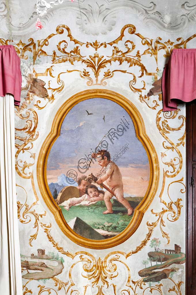"Vicenza, Villa Valmarana ai Nani, Guest Lodgings, the Room of the Putti, medallion with putti: ""Three putti playing on a wooden horset"". Frescoes by Giandomenico Tiepolo, 1757."