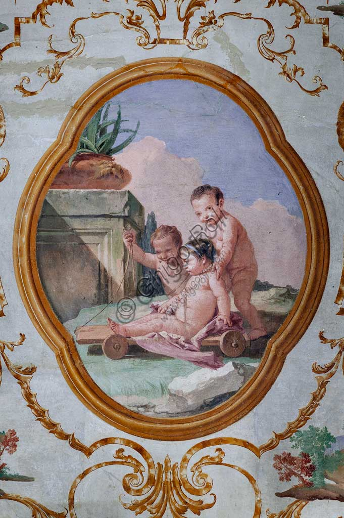 "Vicenza, Villa Valmarana ai Nani, Guest Lodgings, the Room of the Putti, medallion with putti: ""Three putti and a cart"". Frescoes by Giandomenico Tiepolo, 1757."