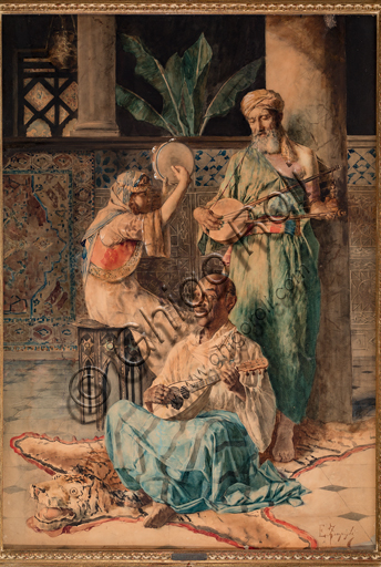 """Eugenio Zampighi, (1859-1944): """"Tre suonatori orientali""""; tempera su carta, cm. 100 × 70."""