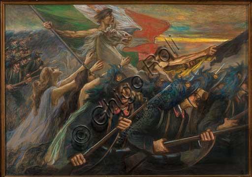 """Collezione Assicoop - Unipol, inv. n° 469: Gaetano Previati (Ferrara, 31 agosto 1852 – Lavagna, 21 giugno 1920); """"Trento e Trieste, la carica dei Bersaglieri"""" (olio su tela, 100 x 140)."""