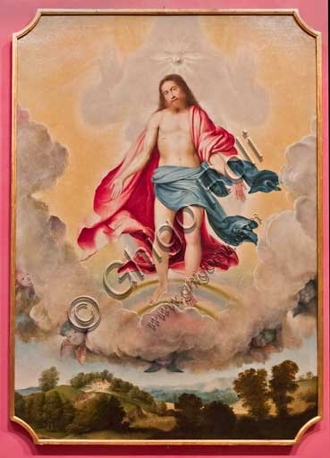 """Bergamo, Bernareggi Museum: """"Trinity"""" by Lorenzo Lotto (1524). Jesus is represented in  in the sky within a circle of clouds, as in the scene of the Transfiguration. He shows the wounds of the Passion, the dove of the Holy Spirit flies over him."""