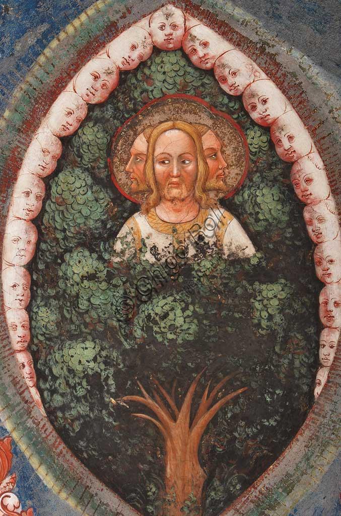 """Rocca di Vignola, Cappella Contrari, parete orientale: """"Trinità trifronte e Albero della Vita"""". Affresco del Maestro di Vignola, anni Venti del Quattrocento."""