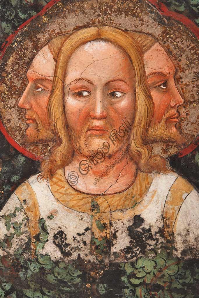 """Rocca di Vignola, Cappella Contrari, parete orientale: """"Trinità trifronte e Albero della Vita"""". Affresco del Maestro di Vignola, anni Venti del Quattrocento. Particolare."""