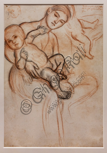"""Study for the Infant Jesus in the arms of the Virgin for the """"Triumph of the Innocents"""" (first version), painting that would have represented the Holy Family in the Flight into Egypt, (1876) by William Holman Hunt (1827 - 1910); chalk on paper."""