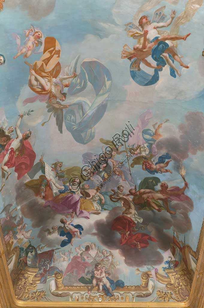 "Turin, the Royal Palace, the Gallery of Battles, the vault: detail of ""The Triumph of Peace"". Frescoe by Claudio Francesco Beaumont (1748)."