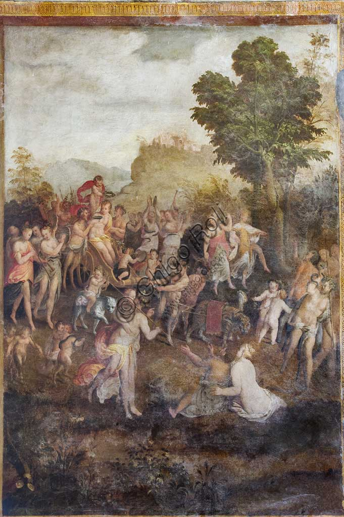 "Ferrara, Castello Estense (the Estense Castle), also known as Castle of St. Michael, Camerino dei Baccanali, wanted by Alfonso d'Este : ""The triumph of Arianna"", fresco by Ludovico Settevecchi."