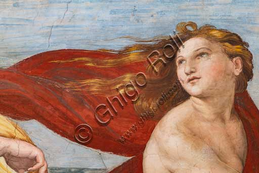 "Rome, Villa Farnesina, the Loggia of Galatea:  ""The Triumph of Galatea"", by Raphael (1513 - 4). Galatea was the beautiful nymph whom Raphael depicted amongst a throng of sea creatures as she speeds away from her admirer on a fantastical shell drawn by dolphins.Detail."