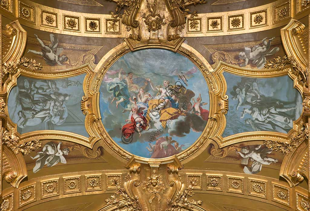 "Turin, the Royal Palace, The Royal Armoury, the Beaumont Gallery, the vault, frescoes about the stories of the Aeneid: ""The Triumph of Venus"". Fresco by Claudio Francesco Beaumont, 1737 - 42."