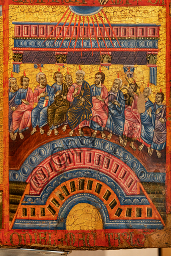 """Perugia, National Gallery of Umbria: """"Triptych of the Master of Perugia"""", tabernacle with doors, 1270-5, tempera on panel.On the right, stories of the Passion of Christ: detail of the Pentecost."""