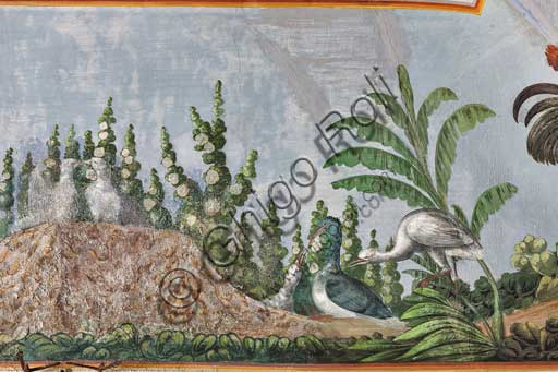 Palermo, The Royal Palace or Palazzo dei Normanni (Palace of the Normans), The Royal Apartment, the Birds Room, the frescoed vault: detail with birds and flowers.