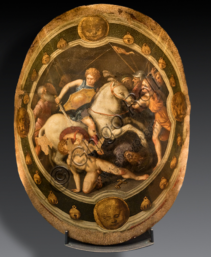 """The Killing of Galata"", by Benvenuto Tisi known as Garofalo. It is a XVI century tournament plaque applied on a shield."