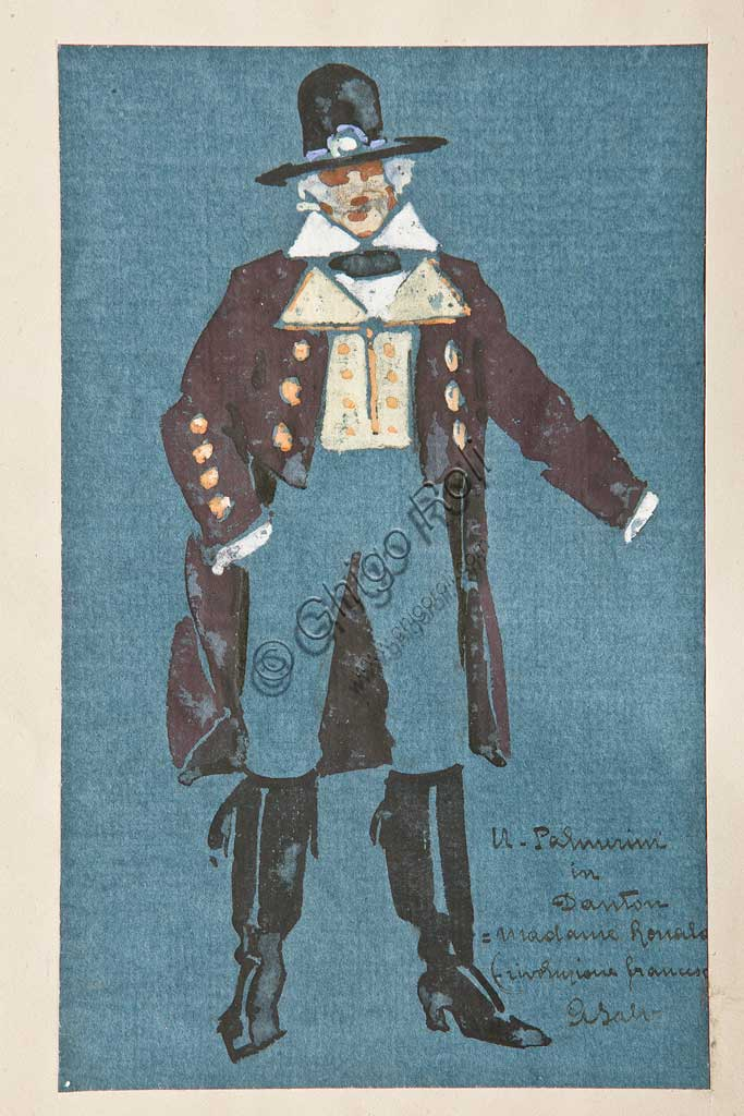 """Collezione Assicoop Unipol: Arcangelo Salvarani (1882 - 1953), """" Ugo Palmerini in Danton"""". Acquerello, cm 21,5 x 13,5."""