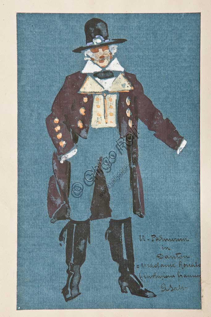 "Assicoop - Unipol Collection: Arcangelo Salvarani (1882 - 1953),  "" Ugo Palmerini in Danton"". Watercolour, cm 21,5 x 13,5."