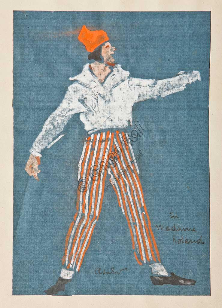 """Collezione Assicoop Unipol: Arcangelo Salvarani (1882 - 1953), """" Ugo Palmerini in Danton/Madame Roland"""". Acquerello, cm 21,5 x 13,5."""