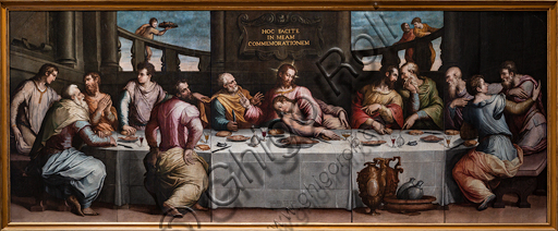 "Basilica of the Holy Cross: ""Last Supper"", 1546, by Giorgio Vasari , oil painting on panel."