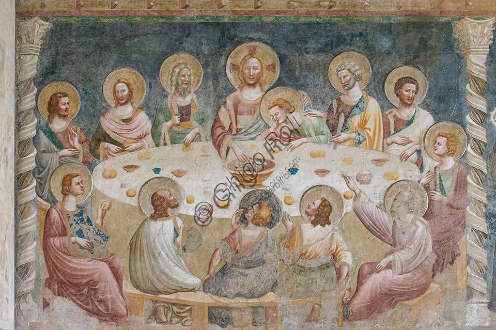 "Codigoro, Pomposa Abbey, Refectory: fourteenth-century frescoes attributed to the painter of the Rimini school, Maestro di Tolentino: ""Last Supper""."
