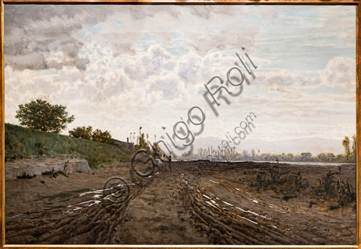 """Telemaco Signorini: """"A Morning along the River Arno. Sand diggers along the Arno"""", about 1868, oil painting on canvas."""