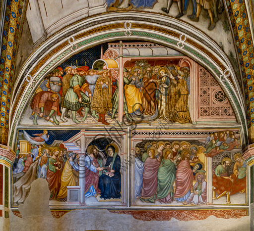 Foligno, Trinci Palace, the chapel: frescoes by Ottaviano Nelli, realised in 1424. Detail of one wall: The Apostles take leave from Mary and Death of Mary.
