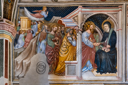 Foligno, Trinci Palace, the chapel: frescoes by Ottaviano Nelli, realised in 1424. Detail of one wall: The apostles take leave from Mary.