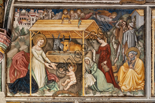 Foligno, Trinci Palace, the chapel: frescoes by Ottaviano Nelli, realised in 1424. Detail of one wall: Nativity.