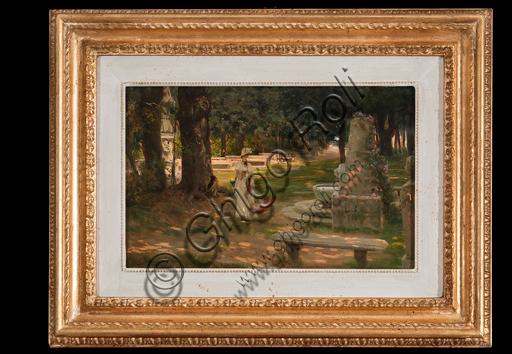 """Giovanni Muzzioli, (1854-1894): """"A Walk in Villa Borghese""""; oil painting on panel, cm. 21,5 × 33,5."""