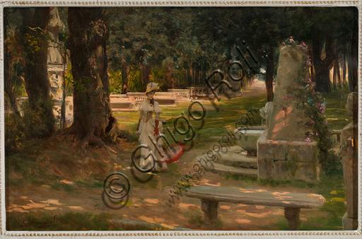 """Giovanni Muzzioli, (1854-1894): """"Una passeggiata a Villa Borghese""""; olio su tavola, cm. 21,5 × 33,5."""