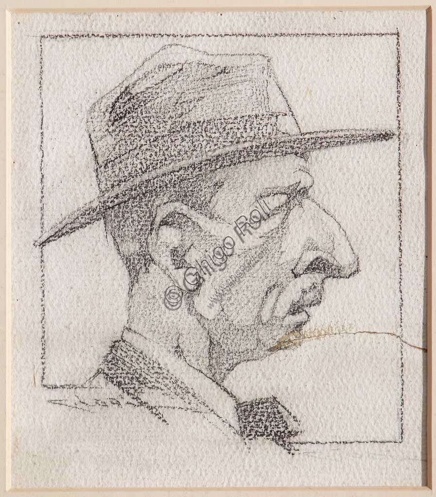 "Assicoop - Unipol Collection: Casimiro Jodi (1886-1948), "" A Man wearing a Hat"". Pencil on paper."