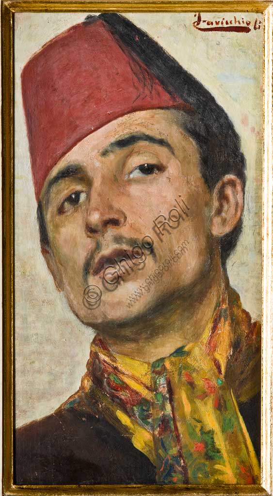"Assicoop - Unipol Collection: Fernando Cavicchioli; ""Man wearing a Red ""Oil painting, cm 36,8 x 20,1"