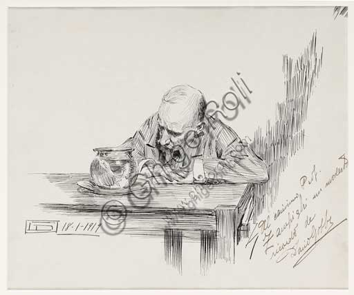 "Assicoop - Unipol Collection: Dario Gobbi, ""Man Sitting at the Table"". Pen and ink on paper."