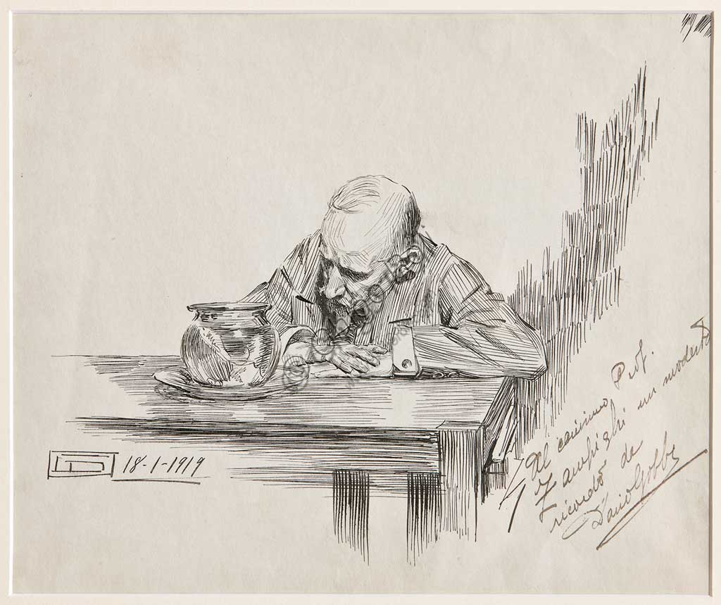 "Assicoop - Unipol Collection:  Dario Gobbi, ""Man sitting at table and meditating""18th January 1919.Pen and ink on paper."