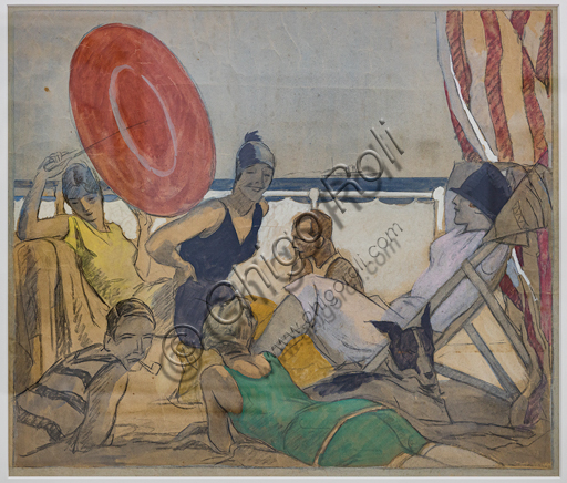 """""""Holiday at the Seaside"""",  by Marcello Dudovich,  tempera and pencil on paper, 1925-30."""