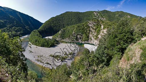 Trebbia Valley: River Trebbia meanders.