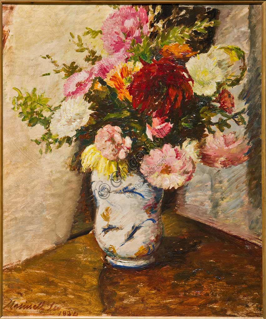 "Assicoop - Unipol Collection: Leo Masinelli, ""Vase of Flowers""; oil painting."