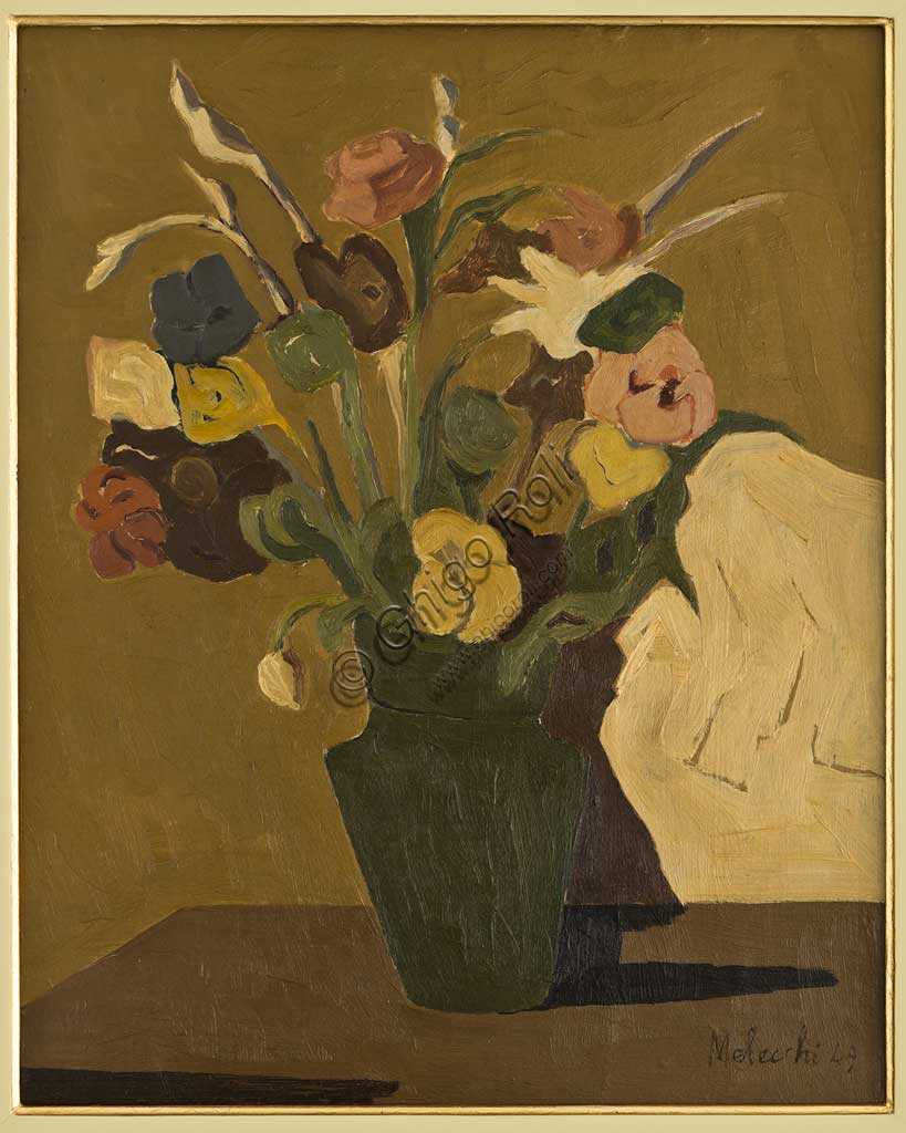 "Assicoop - Unipol Collection: Pietro Malecchi; ""Flower Vase""; oil on plywood; 40 x 50."