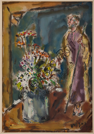 "Assicoop - Unipol Collection: Filippo De PIsis (Ferrara 1896 - 1956), ""Vase of Flowers with a small staue representing a saint"", oil painting on canvas."