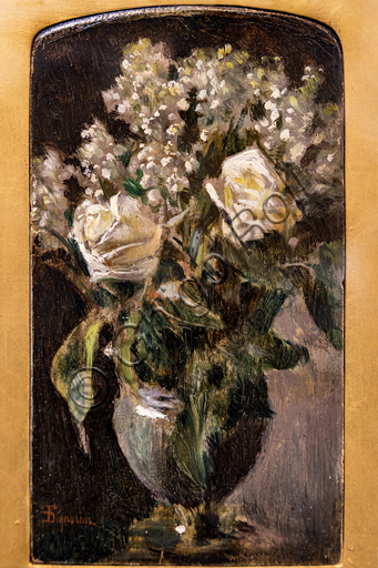 """Telemaco Signorini: """"Vase with White Roses and Lilies of the Valley """", 1870, oil painting on canvas applied on cardboard."""