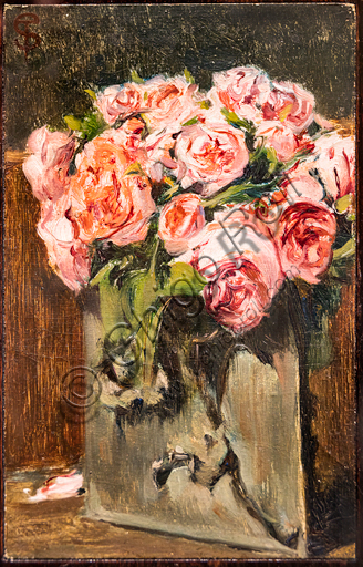 """Telemaco Signorini: """"Vase with Roses """", 1870, oil painting on canvas applied on cardboard."""