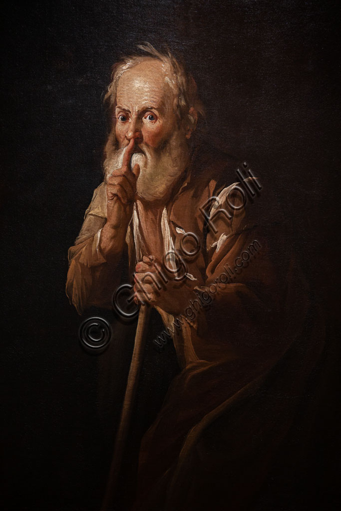"Brescia, Pinacoteca Tosio Martinengo: ""Old Man calling for Silence"", oil on canvas by Antonio Cifrondi, 1717."