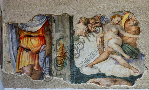 Foligno, Trinci Palace: mythological frieze on the Neoplatonic theme of love. Detail of an old man, probably Jupiter, holding a young woman on his thigh, perhaps Dione (classic iconography of the sexual act), XVI century.