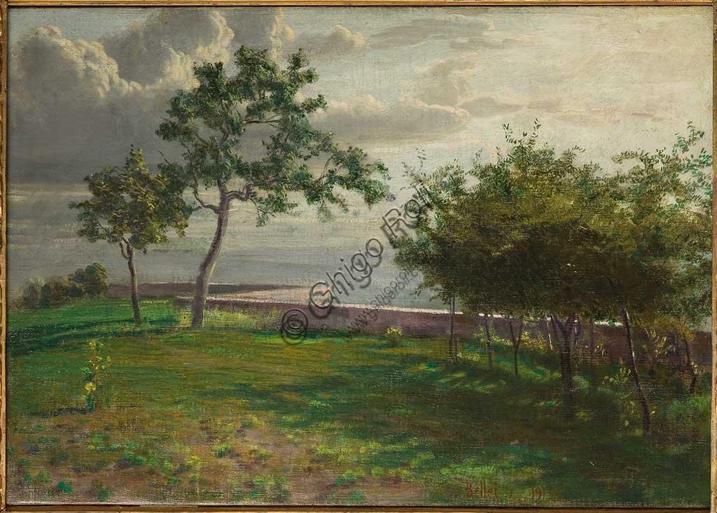 """Collezione Assicoop - Unipol: """"Veduta con alberi e muretto"""", 1913, olio su tela, di Gaetano Bellei (1857 - 1922)."""