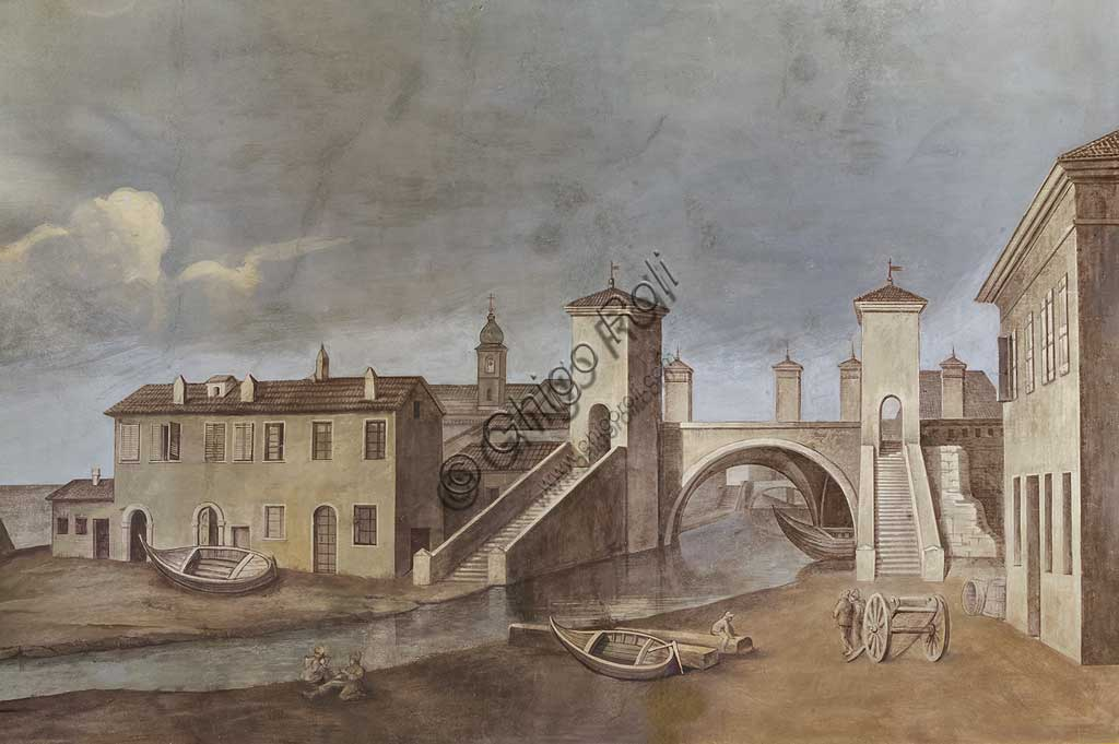 "Ferrara, Castello Estense (the Estense Castle), also known as Castle of St. Michael: ""View of the for Comacchio bridges"", print."