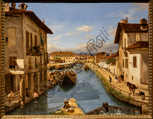 """Giuseppe Canella: """"View of the Naviglio Canal from the bridge of St. Mark"""", oil painting, about 1850."""