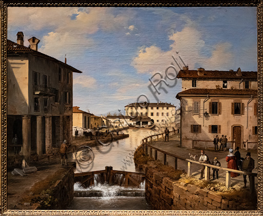 """Angelo Inganni """"View of the Naviglio Canal from the bridge of St. Mark"""", oil painting, 1834-7."""