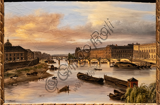 """Giuseppe Canella: """"View of the Seine from the Pont Neuf"""", oil painting, 1827."""