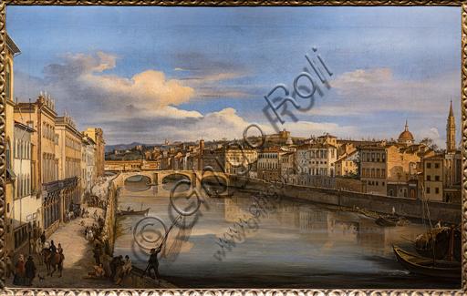 """Giovanni Signorini: """"View of the Arno from the Alla Carraia Bridge"""",  1846, oil painting on canvas."""