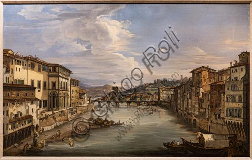 "Giovanni Signorini: ""View of the Arno from Ponte Vecchio toward the Alle Grazie Bridge"",  1844, oil painting on canvas."